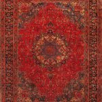 "Hand-knotted Mashad Red Wool Rug 9'6″ x 12'10"" (1)"