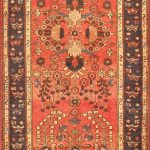 Hand-knotted Lilihan Red Wool Rug 3'6″ x 13'8″
