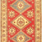 Hand-knotted Finest Gazni Orange Wool Rug 7'0″ x 11'0″