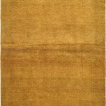 Hand-knotted Persian Gabbeh Yellow Wool Rug 3'9″ x 5'2″
