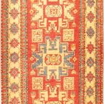 Hand-knotted Finest Gazni Orange Wool Rug 2'9″ x 11'2″