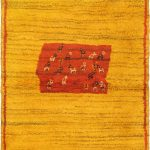 Hand-knotted Persian Gabbeh Yellow Wool Rug 3'4″ x 4'9″