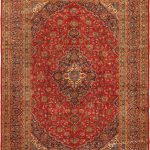 Hand-knotted Kashan Red Wool Rug 9'8″ x 13'3″