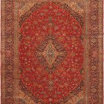 Hand-knotted Kashan Red Wool Rug 10'0″ x 12'7″