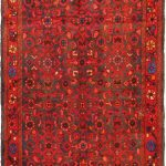 Hand-knotted Hosseinabad Light Navy, Red Wool Rug 3'5″ x 10'5″
