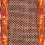 """Hand-knotted Lilihan Red Wool Rug 3'10"""" x 9'5″"""