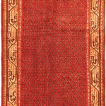 Hand-knotted Arak Pink Wool Rug 3'5″ x 10'4″