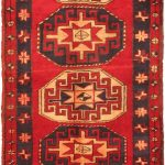 Hand-knotted Gharajeh Light Navy, Red Wool Rug 3'4″ x 10'6″
