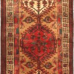 Hand-knotted Ardabil Red Wool Rug 3'6″ x 11'3″