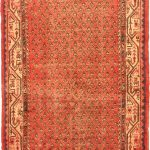 Hand-knotted Arak Pink Wool Rug 3'6″ x 10'5″