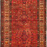Hand-knotted Hosseinabad Red Wool Rug 3'8″ x 10'6″