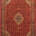 Hand-knotted Mahal Cream, Red Wool Rug 9'8″ x 12'1″