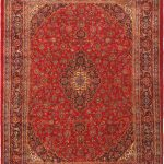 Hand-knotted Mashad Red Wool Rug 9'7″ x 12'8″