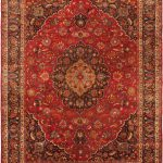 Hand-knotted Mashad Red Wool Rug 9'4″ x 12'6″