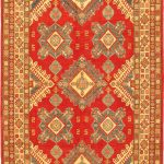 "Hand-knotted Finest Gazni Orange Wool Rug 6'10"" x 10'3″"