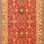 Hand-knotted Finest Gazni Cream, Red Wool Rug 7'6″ x 10'5″