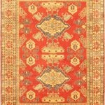 Hand-knotted Finest Gazni Orange Wool Rug 7'3″ x 9'10""