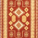 Hand-knotted Royal Kazak Dark Copper, Light Khaki Wool Rug 5'8″ x 7'10""