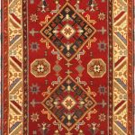 Hand-knotted Royal Kazak Cream, Red Wool Rug 4'2″ x 5'11""