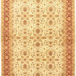 Hand-knotted Pako Persian 18/20 Cream, Light Burgundy Wool Rug 6'1″ x 9'3″