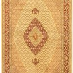 Hand-knotted Pako Persian 18/20 Cream, Light Burgundy Wool Rug 6'8″ x 10'5″