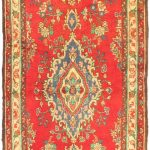 Hand-knotted Hamadan Cream, Red Wool Rug 3'5″ x 11'11""