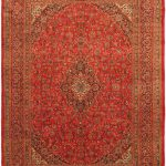Hand-knotted Kashmar Red Wool Rug 9'9″ x 13'5″