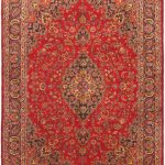 Hand-knotted Kashmar Navy, Red Wool Rug 9'8″ x 13'7″
