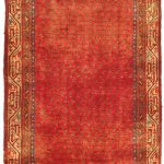 Hand-knotted Arak Red Wool Rug 3'4″ x 10'2″