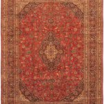 Hand-knotted Kashmar Red Wool Rug 9'8″ x 12'9″