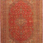 "Hand-knotted Kashan Light Navy, Red Wool Rug 9'10"" x 13'5″"