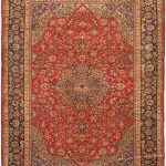 "Hand-knotted Isfahan Red Wool Rug 9'10"" x 13'2″"