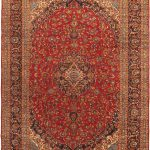 "Hand-knotted Kashan Red Wool Rug 9'10"" x 13'6″"