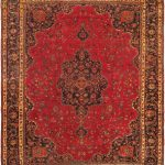 Hand-knotted Sabzevar Red Wool Rug 9'8″ x 12'7″