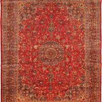 Hand-knotted Sabzevar Red Wool Rug 9'8″ x 12'8″