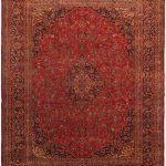 Hand-knotted Mashad Red Wool Rug 9'8″ x 12'8″