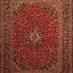 Hand-knotted Kashan Red Wool Rug 10'2″ x 12'9″