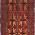 """Hand-knotted Bahor Navy, Red Wool Rug 2'10"""" x 4'1″"""