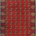 "Hand-knotted Bahor Dark Navy, Red Wool Rug 2'10"" x 4'9″"