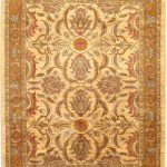 Hand-knotted Chobi Finest Beige Wool Rug 7'3″ x 9'0″