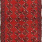 Hand-knotted Bahor Navy, Red Wool Rug 3'7″ x 6'7″