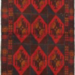 Hand-knotted Bahor Burgundy, Light Navy Wool Rug 3'4″ x 6'3″