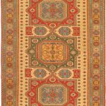 Hand-knotted Nomadic Tribal Orange Wool Sumak 8'1″ x 12'4″