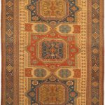 Hand-knotted Nomadic Tribal Orange Wool Sumak 7'8″ x 12'9″