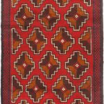 Hand-knotted Bahor Red Wool Rug 2'9″ x 4'4″ (1)