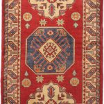 Hand-knotted Finest Gazni Cream, Red Wool Rug 3'4″ x 4'9″
