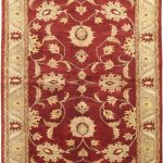 Hand-knotted Chobi Finest Red Wool Rug 6'4″ x 8'5″