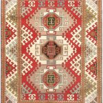 "Hand-knotted Royal Kazak Red Wool Rug 5'10"" x 8'0″ (1)"
