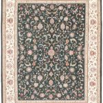 Hand-knotted Royal Kashan Cream, Dark Aqua Wool Rug 9'0″ x 12'0″