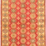 Hand-knotted Finest Gazni Orange Wool Rug 4'3″ x 6'1″